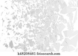 Broken window pane or front door glass background. Broken glass background isolated on white. 3d rendering