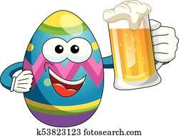Bunny Or Rabbit Drinking Mug Beer Isolated Clip Art K53823108