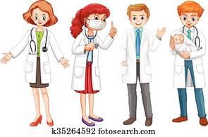 mann frau, doktoren, in, uniform