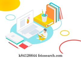 Media book online library concept. E-book, E-learning online, online university, knowledge isometric vector illustration.