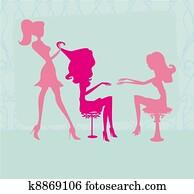 the beautiful woman in beauty salon