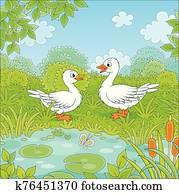 Wild geese near a small blue lake