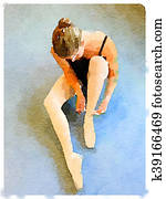 DW ballerina putting on pointe shoes 1