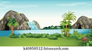 Scene with waterfall and field