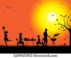 Sunset Evening Means Bbq Grill And Barbecued