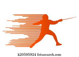 Fencing active young teenager sword fighting sport silhouettes