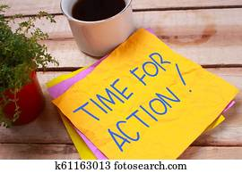 Time For Action, Motivational Words Quotes Concept