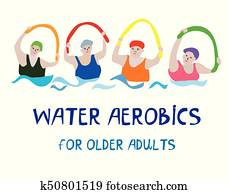 Water aerobics banner with senior women