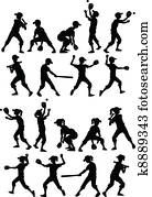 baseball, schlagball, kinder, silhouetten