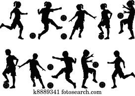 fussball, silhouetten, kinder, knaben, m?dels