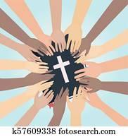 Hands Bible Study Illustration