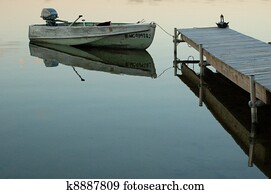 Cape Cod Row Boat and Reflection Stock Photo   k1646878   Fotosearch