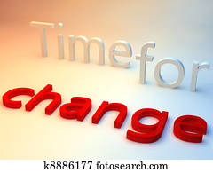 the words time for change over a red and blue background