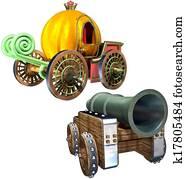 Carriage of pumpkin and Gun set