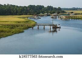 coast of georgia grass marsh boat docks