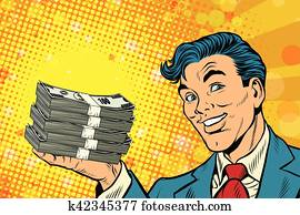 Financial success businessman with money