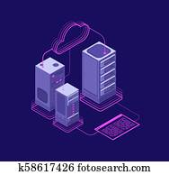 Network hosting solutions, datacenter with services, website administrative support vector isometric concept