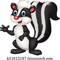 Cartoon skunk waving hand isolated
