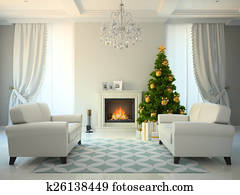 Classic style room with fireplace and christmas tree 3D renderin