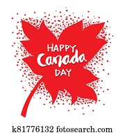 Happy Canada Day Maple Leaves.