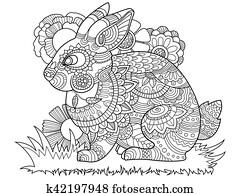 kanninchen, kaninchen, ausmalbilder, für, erwachsene, vektor
