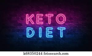 Keto diet concept. Purple and Blue Neon SIGNBOARD on a dark brick wall. 3D ILLUSTRATION