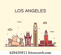 Los Angeles skyline vector illustration linear