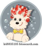lustig, hund, mit, haarrollen, haustier, salon, vektor, karikatur