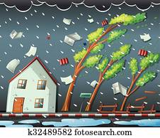Natural disaster scene with hurricane