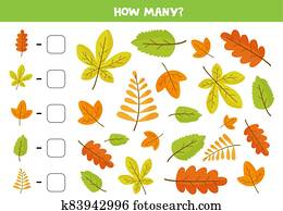Counting game with cute colorful autumn leaves