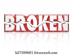 Broken Red 3d Word Injury Out of Order Service Damage Disrepair