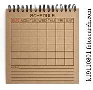 brown schedule notebook