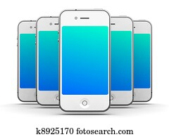Iphone - Like White Smartphones on White Background, 3D Render.