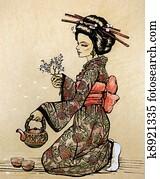 Tea ceremony in Japanese style: gei