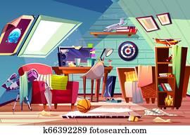 Teen boy messy attic room interior cartoon
