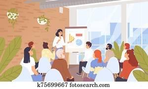 geschaefts, seminar,, konferenz, vektor, illustration., firma, personal, training,, karriere, entwicklung, kurs, concept., geschaefts, trainer, und, vortrag, listeners,, businesspeople, karikatur, characters.