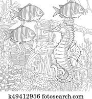 Zentangle stylized underwater scene