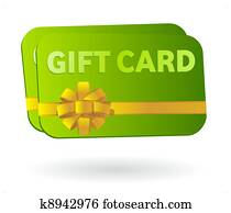 Isolated gift card with ribbon