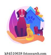 Pet services abstract concept vector illustration.
