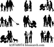 silhouette, von, eltern, und, kindern