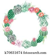 Watercolor Cactus and Succulents Wreath