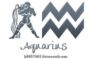 Aquarius Signs - Navy Plastic