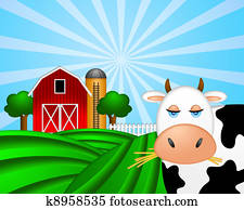 Cow on Green Pasture with Red Barn with Grain Silo