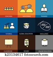 Flat design set of vector line icons of coaching mentoring train