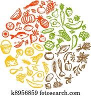 gesundes essen, background,, skizze, für, dein, design