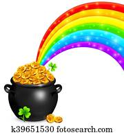 goldtopf, mit, magie, regenbogen