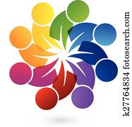 logo, gemeinschaftsarbeit, leute