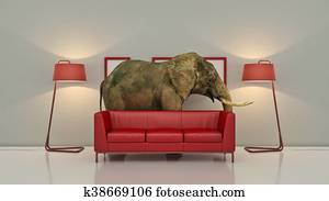 lone elephant in the room. Creative