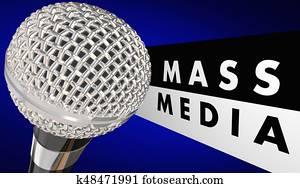 Mass Media Microphone Journalism Words 3d Illustration