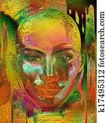 Metallic gold abstract, woman's face